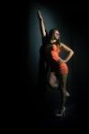 séance photo d'une gogo danseuse en robe à Quimper