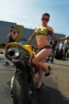 femme en mini short jeans pose avec une honda cbr jaune à Bourges 18