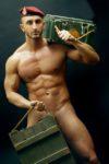 séance photo stripteaseur avec thème armée de terre à Dieppe